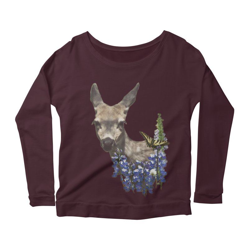 Lady of the Alpine Women's Longsleeve Scoopneck  by Of The Wild by Kimberly J Tilley