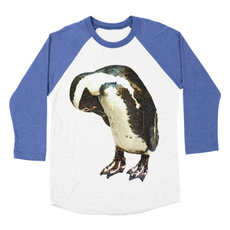 Magellanic Penguin Men's Baseball Triblend Longsleeve T-Shirt by Of The Wild by Kimberly J Tilley