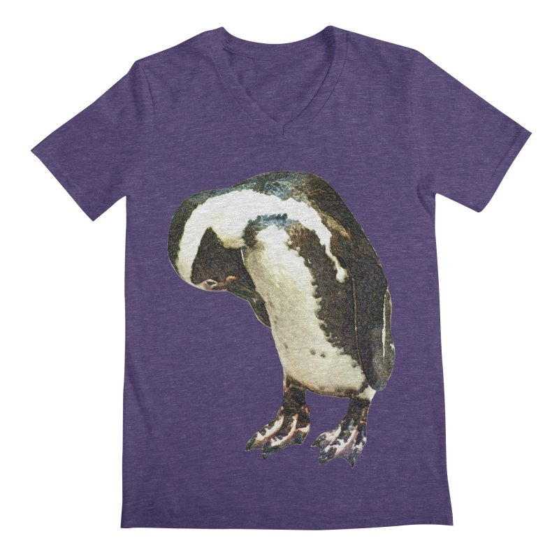 Magellanic Penguin Men's V-Neck by Of The Wild by Kimberly J Tilley