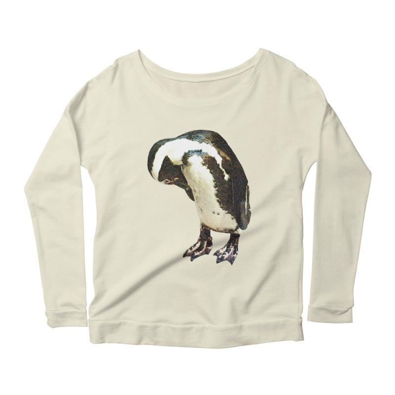 Magellanic Penguin Women's Longsleeve Scoopneck  by Of The Wild by Kimberly J Tilley