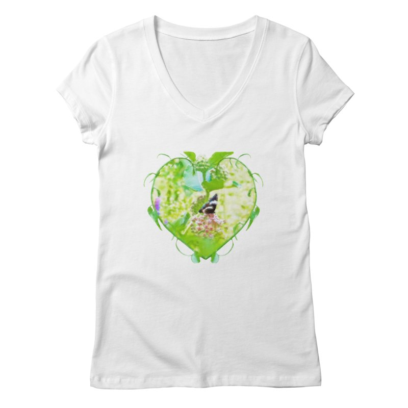 Butterfly and Milkweed Women's Regular V-Neck by Of The Wild by Kimberly J Tilley