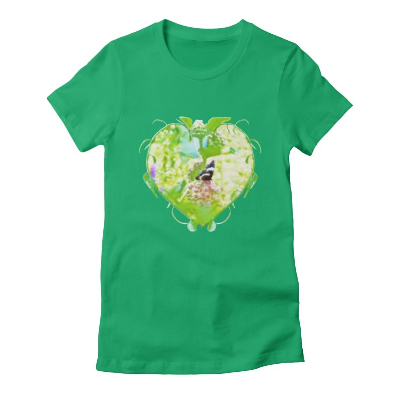 Butterfly and Milkweed Women's Fitted T-Shirt by Of The Wild by Kimberly J Tilley