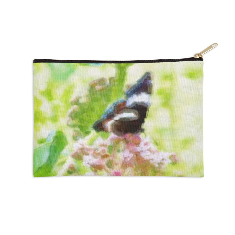 Butterfly and Milkweed Accessories Zip Pouch by Of The Wild by Kimberly J Tilley