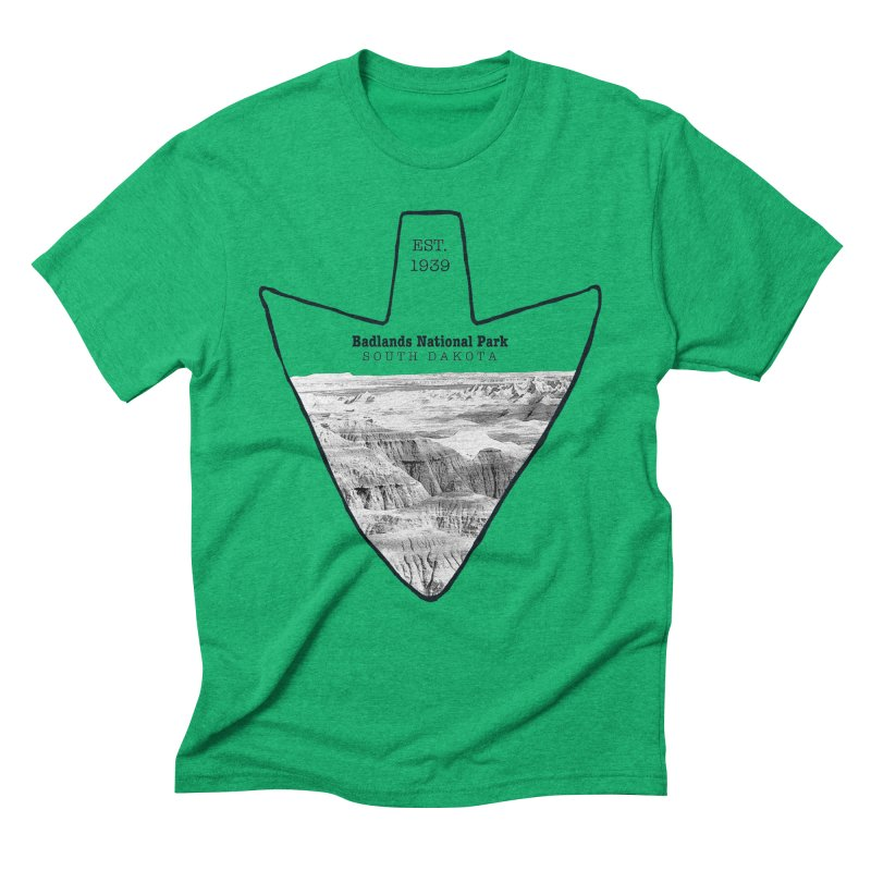 Badlands National Park Arrowhead Men's Triblend T-Shirt by Of The Wild by Kimberly J Tilley
