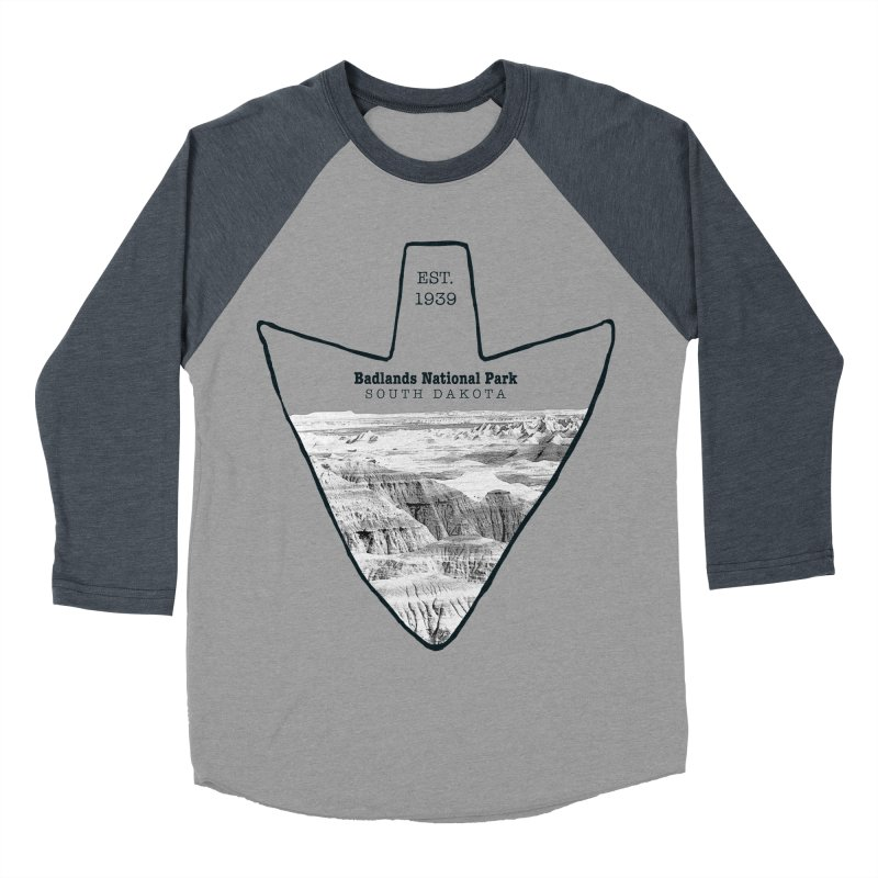 Badlands National Park Arrowhead Women's Baseball Triblend T-Shirt by Of The Wild by Kimberly J Tilley