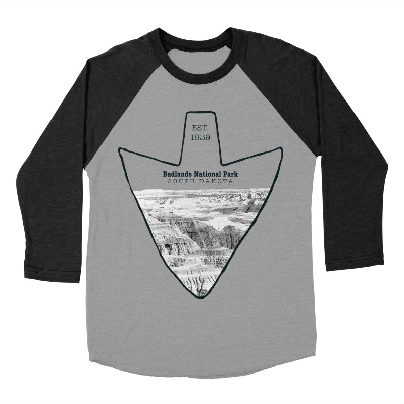 Badlands National Park Arrowhead Men's Baseball Triblend Longsleeve T-Shirt by Of The Wild by Kimberly J Tilley