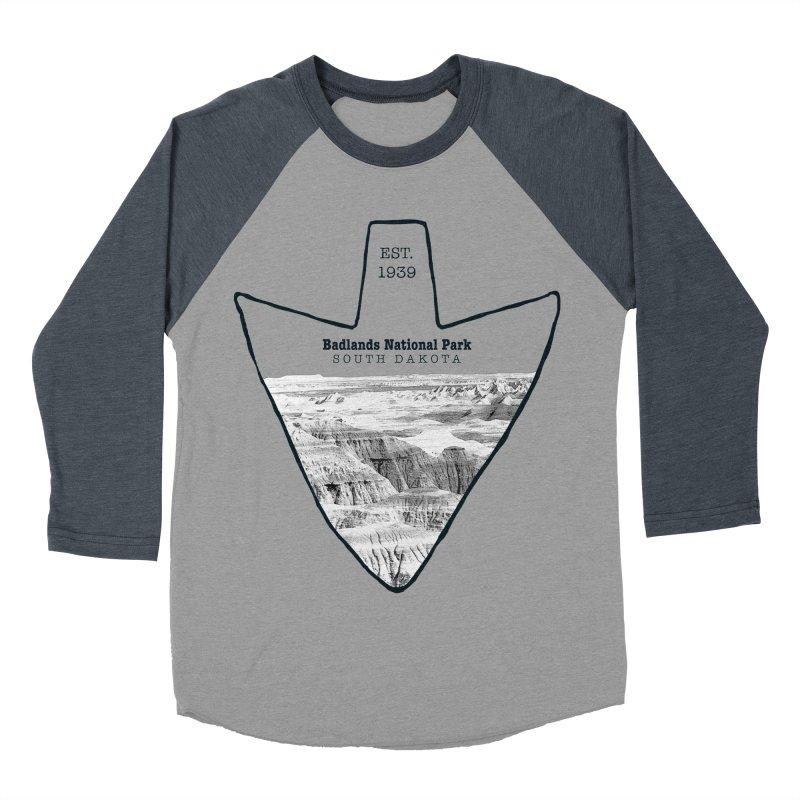Badlands National Park Arrowhead Men's Baseball Triblend Longsleeve T-Shirt by Of The Wild by Kimberly J Tilley