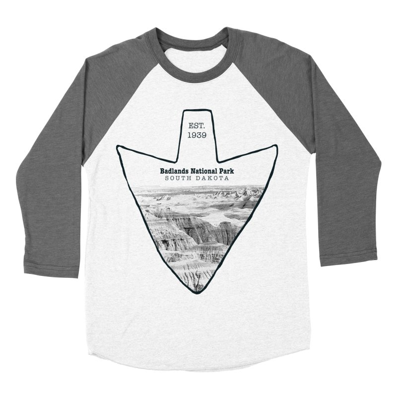 Badlands National Park Arrowhead Men's Baseball Triblend T-Shirt by Of The Wild by Kimberly J Tilley