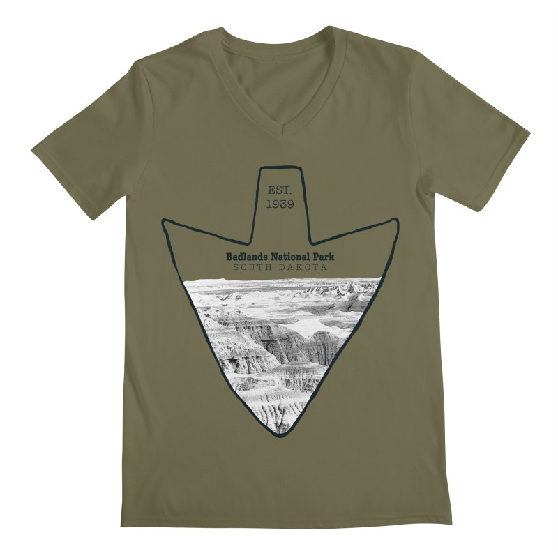 Badlands National Park Arrowhead Men's V-Neck by Of The Wild by Kimberly J Tilley