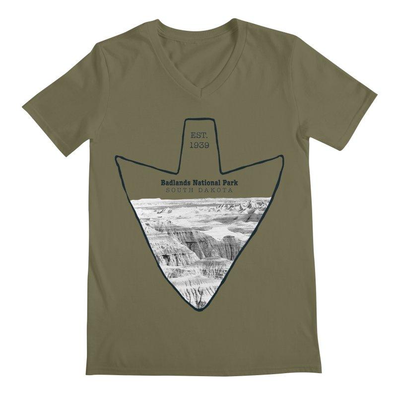 Badlands National Park Arrowhead Men's Regular V-Neck by Of The Wild by Kimberly J Tilley