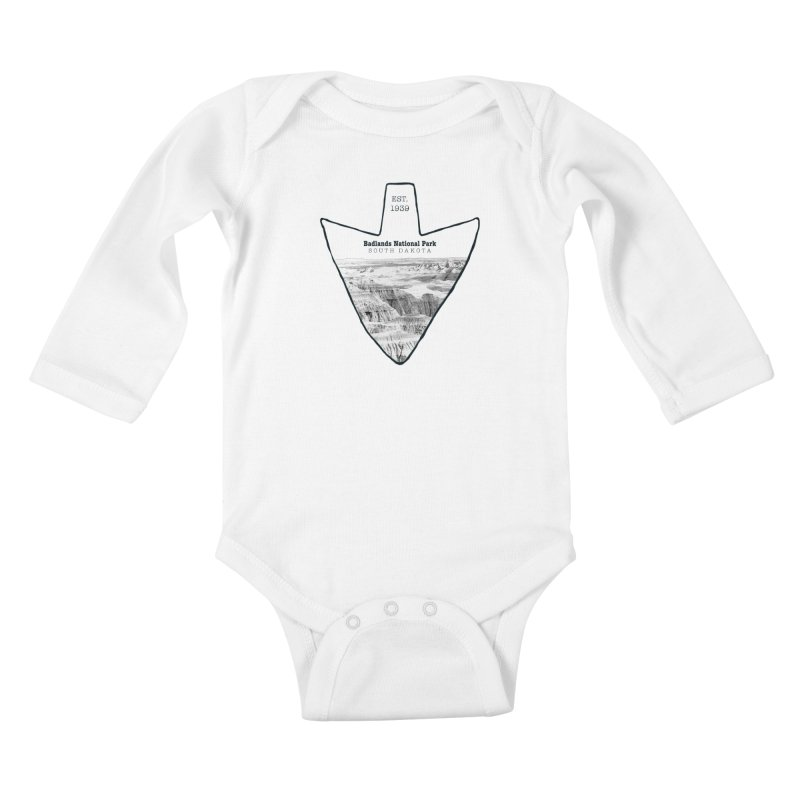 Badlands National Park Arrowhead Kids Baby Longsleeve Bodysuit by Of The Wild by Kimberly J Tilley