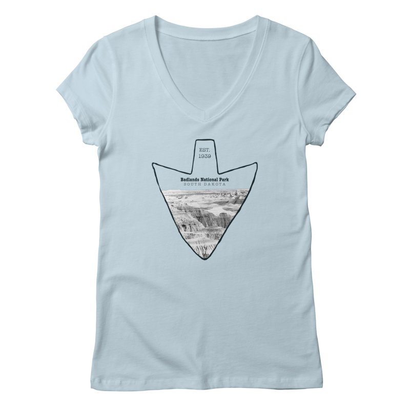 Badlands National Park Arrowhead Women's V-Neck by Of The Wild by Kimberly J Tilley