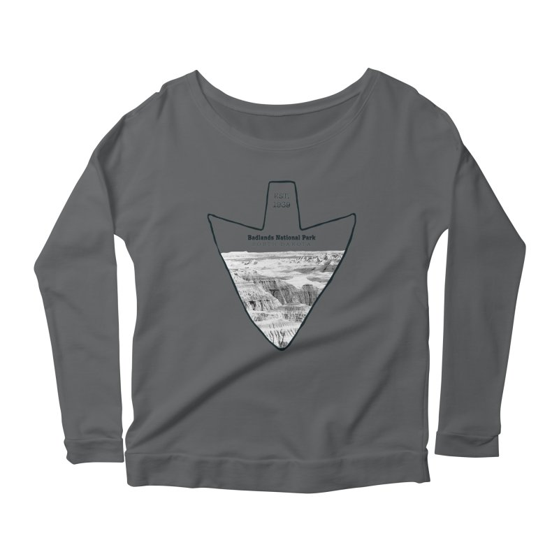 Badlands National Park Arrowhead Women's Scoop Neck Longsleeve T-Shirt by Of The Wild by Kimberly J Tilley