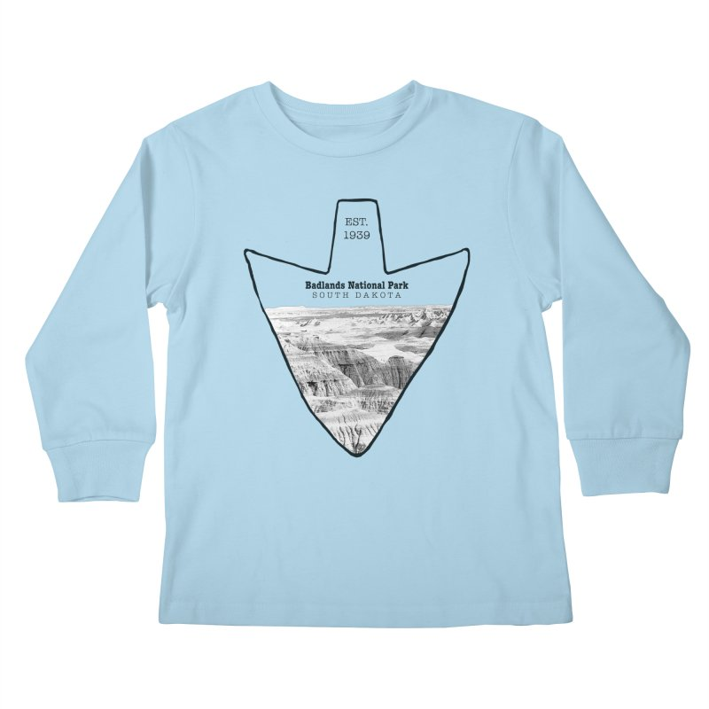 Badlands National Park Arrowhead Kids Longsleeve T-Shirt by Of The Wild by Kimberly J Tilley