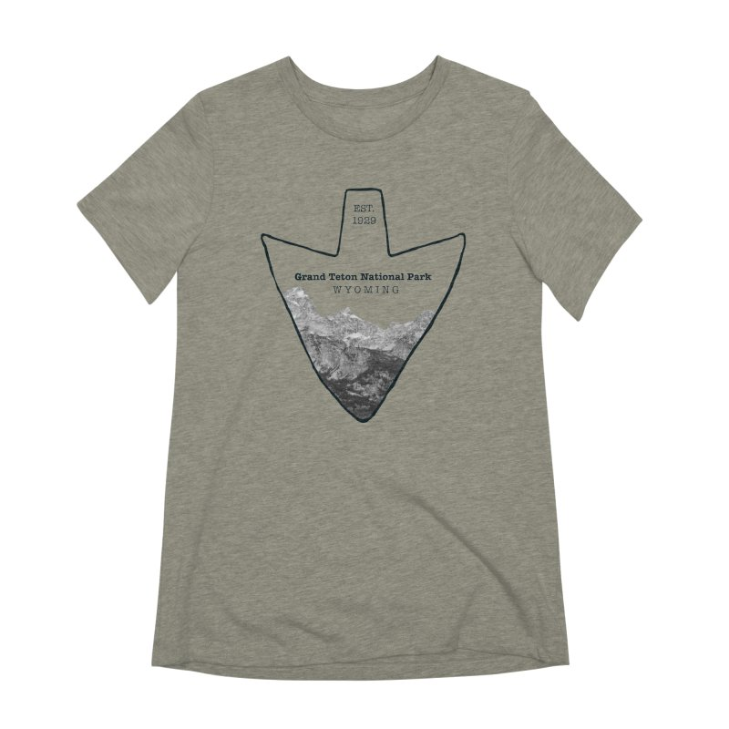 Grand Teton National Park Arrowhead in Women's Extra Soft T-Shirt Heather Stone by Of The Wild by Kimberly J Tilley