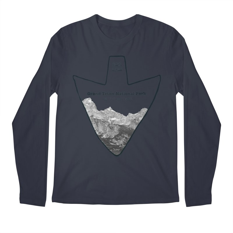 Grand Teton National Park Arrowhead Men's Regular Longsleeve T-Shirt by Of The Wild by Kimberly J Tilley