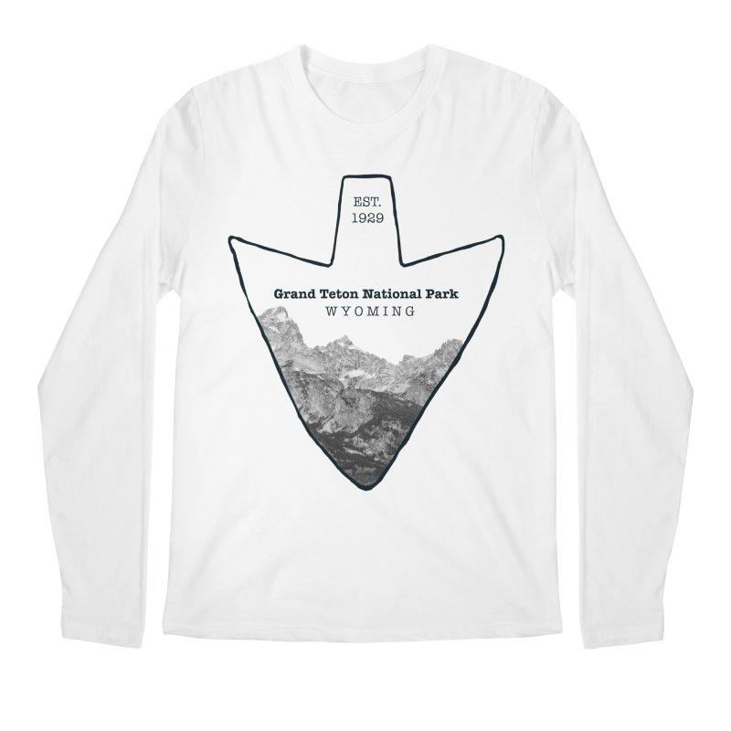 Grand Teton National Park Arrowhead Men's Regular Longsleeve T-Shirt by Of The Wild by Kimberly J Tilley