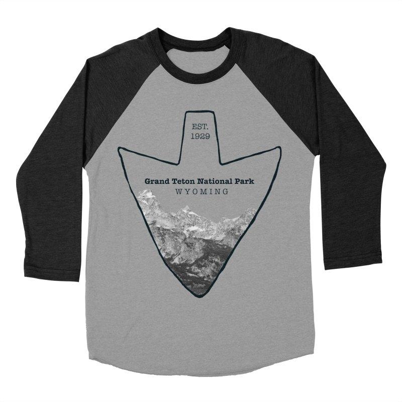 Grand Teton National Park Arrowhead Men's Baseball Triblend Longsleeve T-Shirt by Of The Wild by Kimberly J Tilley