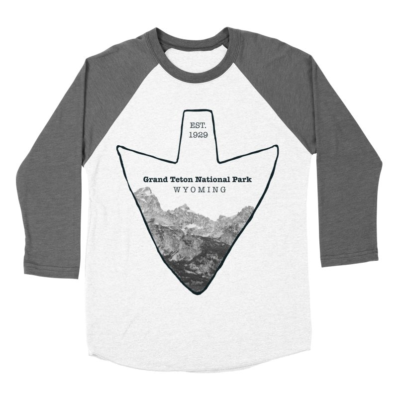 Grand Teton National Park Arrowhead Men's Baseball Triblend Longsleeve T-Shirt by Of The Wild by Kimberly J Tilley