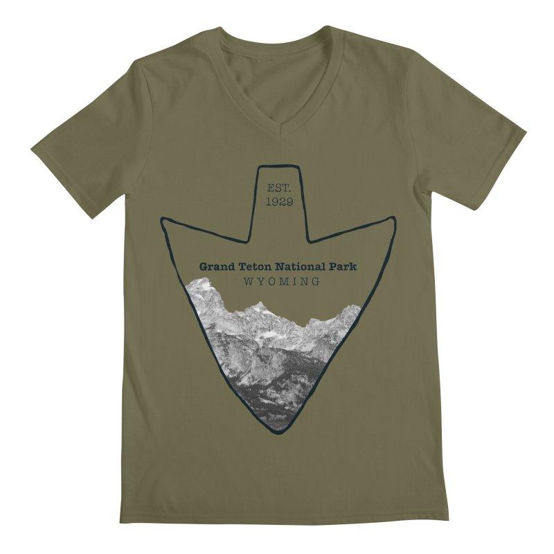 Grand Teton National Park Arrowhead Men's Regular V-Neck by Of The Wild by Kimberly J Tilley