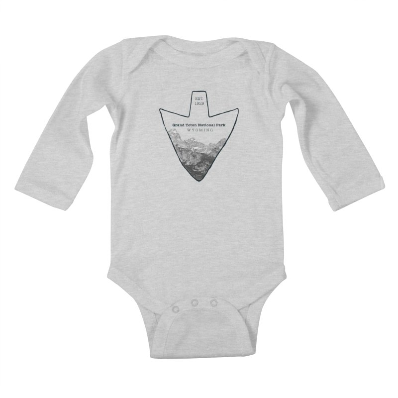 Grand Teton National Park Arrowhead Kids Baby Longsleeve Bodysuit by Of The Wild by Kimberly J Tilley