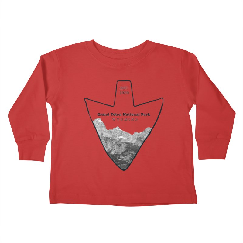 Grand Teton National Park Arrowhead Kids Toddler Longsleeve T-Shirt by Of The Wild by Kimberly J Tilley