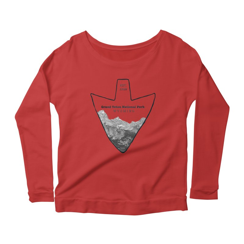 Grand Teton National Park Arrowhead Women's Scoop Neck Longsleeve T-Shirt by Of The Wild by Kimberly J Tilley