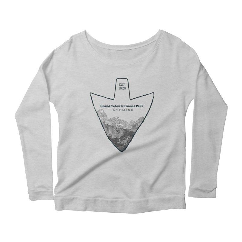 Grand Teton National Park Arrowhead Women's Scoop Neck Longsleeve T-Shirt by Of The Wild by Kimberly J Tilley