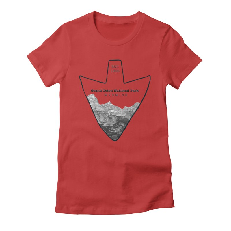 Grand Teton National Park Arrowhead Women's Fitted T-Shirt by Of The Wild by Kimberly J Tilley