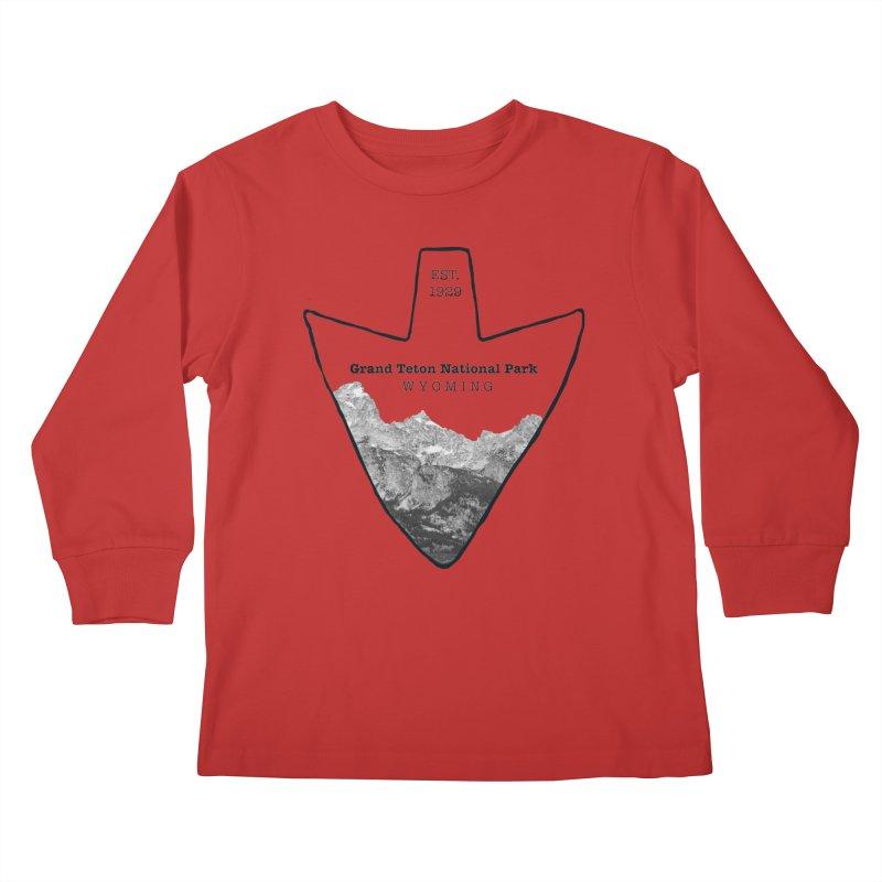 Grand Teton National Park Arrowhead Kids Longsleeve T-Shirt by Of The Wild by Kimberly J Tilley