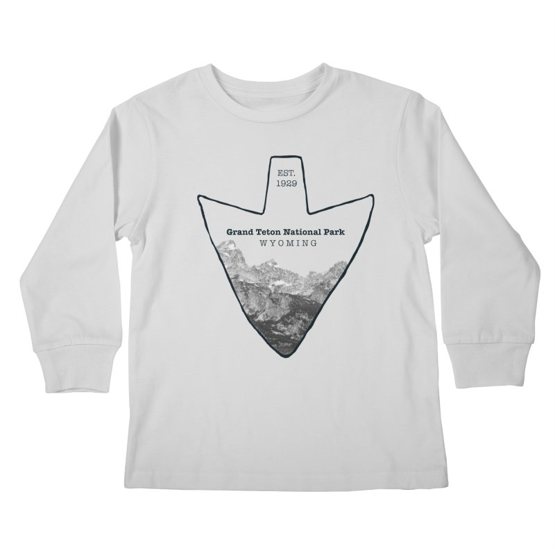 Grand Teton National Park Arrowhead Kids Longsleeve T-Shirt by Of The Wild by Kimberly J Tilley