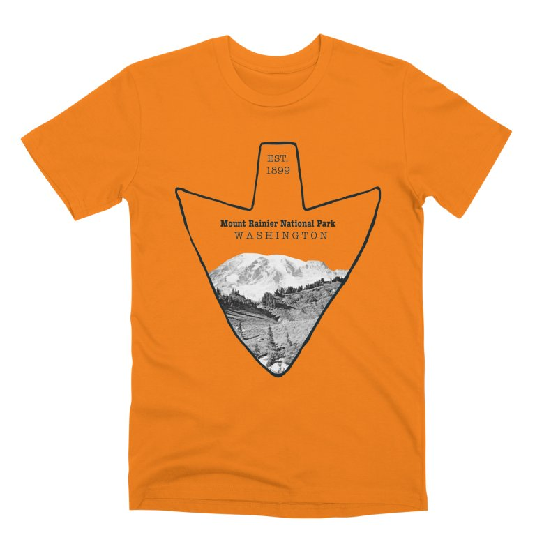 Mount Rainier National Park Arrowhead Men's T-Shirt by Of The Wild by Kimberly J Tilley