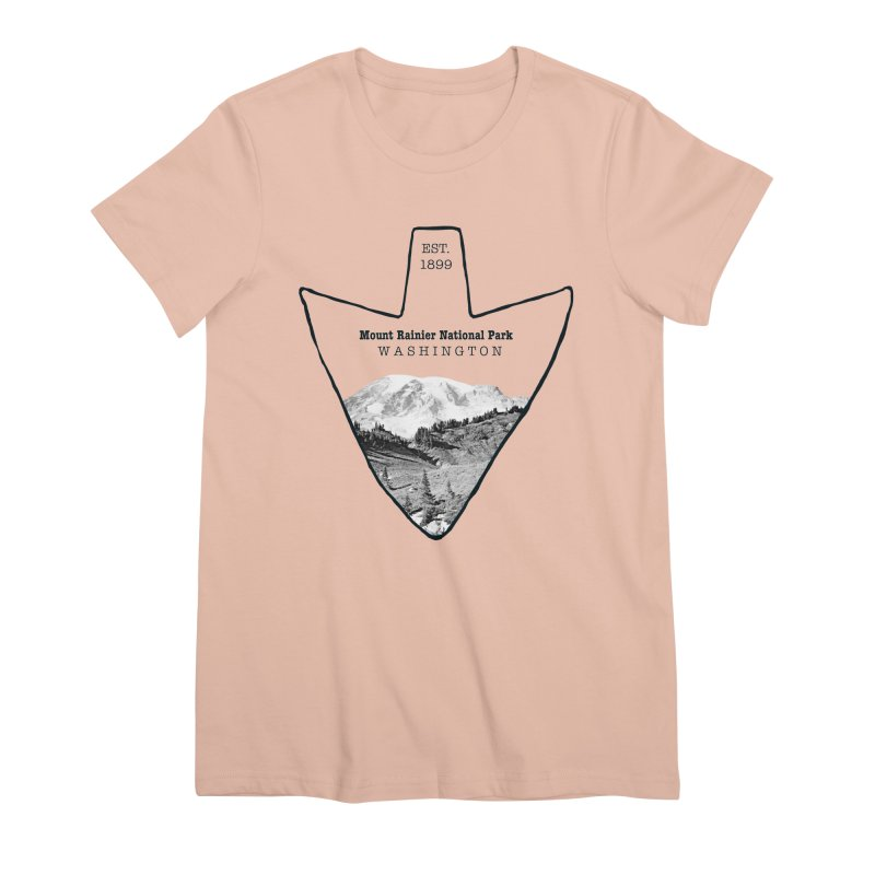 Mount Rainier National Park Arrowhead Women's Premium T-Shirt by Of The Wild by Kimberly J Tilley