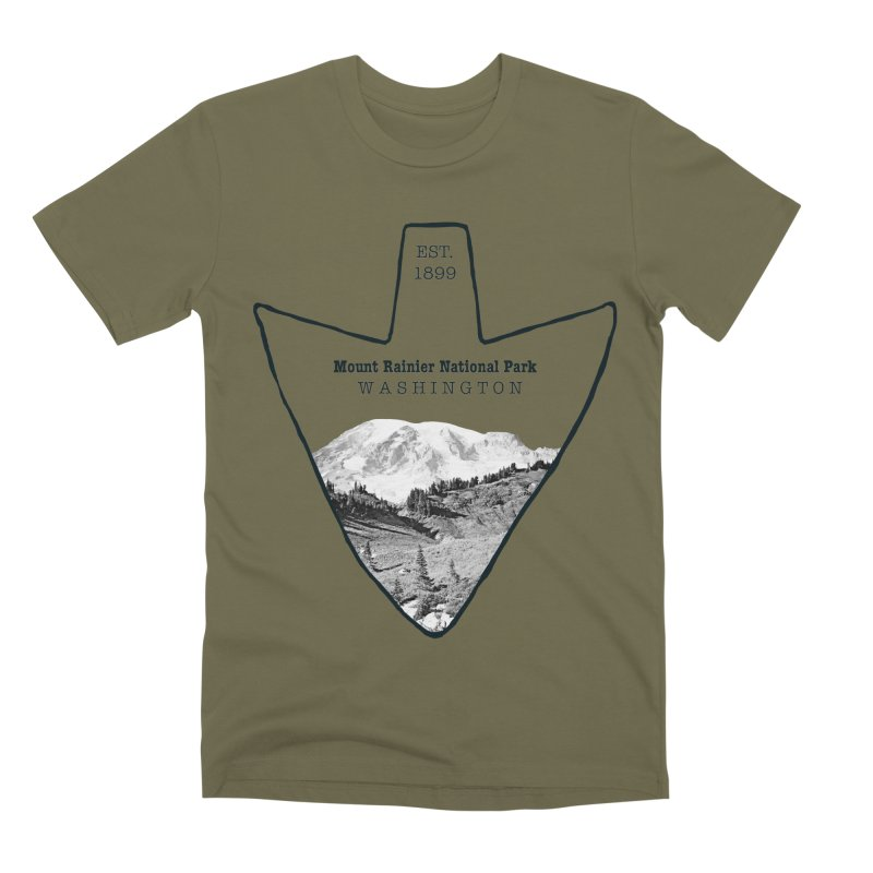 Mount Rainier National Park Arrowhead Men's Premium T-Shirt by Of The Wild by Kimberly J Tilley