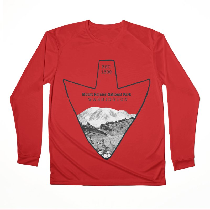Mount Rainier National Park Arrowhead Men's Performance Longsleeve T-Shirt by Of The Wild by Kimberly J Tilley