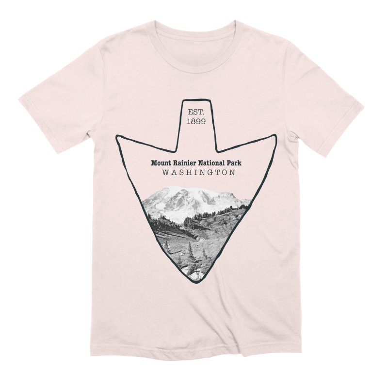 Mount Rainier National Park Arrowhead Men's Extra Soft T-Shirt by Of The Wild by Kimberly J Tilley