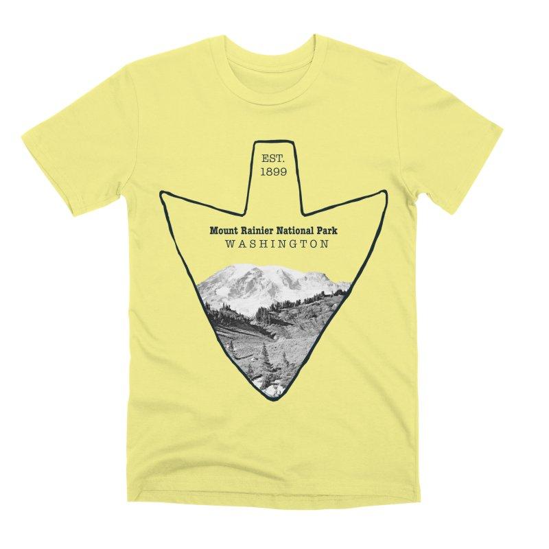 Mount Rainier National Park Arrowhead Men's Premium T-Shirt by Of The Wild by Kimberly J Tilley