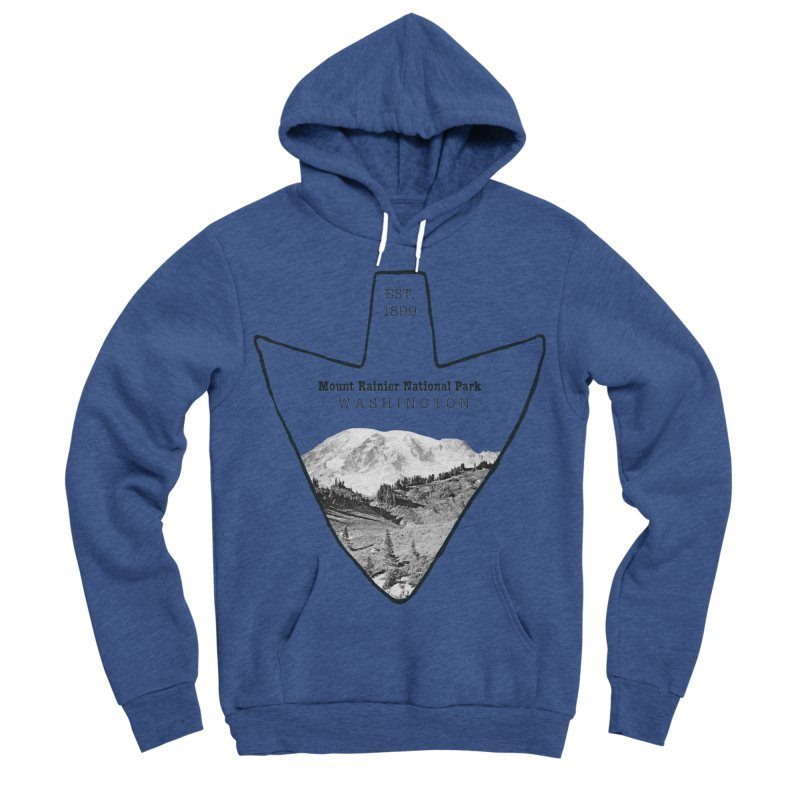 Mount Rainier National Park Arrowhead Men's Sponge Fleece Pullover Hoody by Of The Wild by Kimberly J Tilley