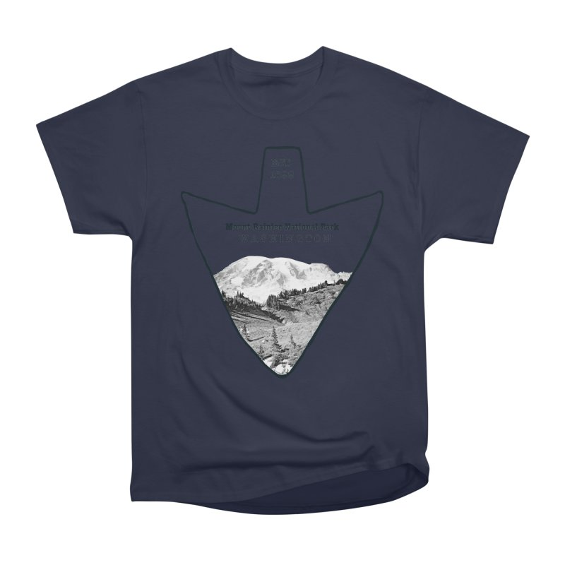 Mount Rainier National Park Arrowhead Men's Heavyweight T-Shirt by Of The Wild by Kimberly J Tilley