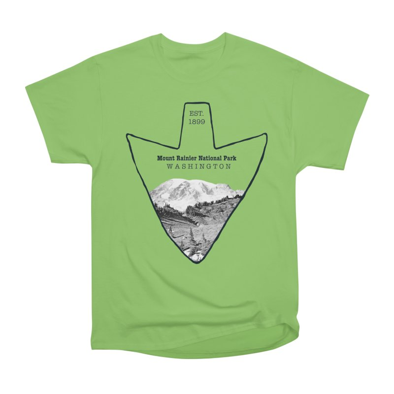 Mount Rainier National Park Arrowhead Men's Heavyweight T-Shirt by Of The Wild by Kimberly J Tilley