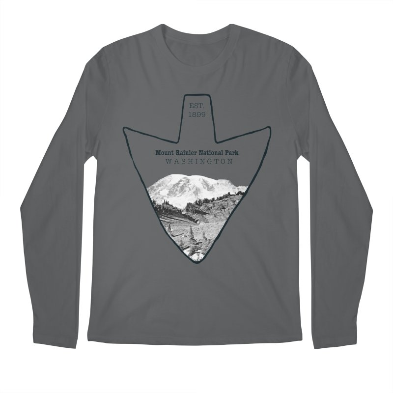 Mount Rainier National Park Arrowhead Men's Regular Longsleeve T-Shirt by Of The Wild by Kimberly J Tilley
