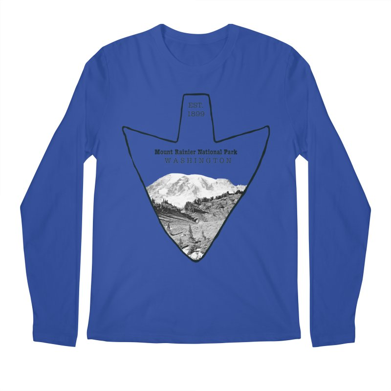 Mount Rainier National Park Arrowhead Men's Longsleeve T-Shirt by Of The Wild by Kimberly J Tilley