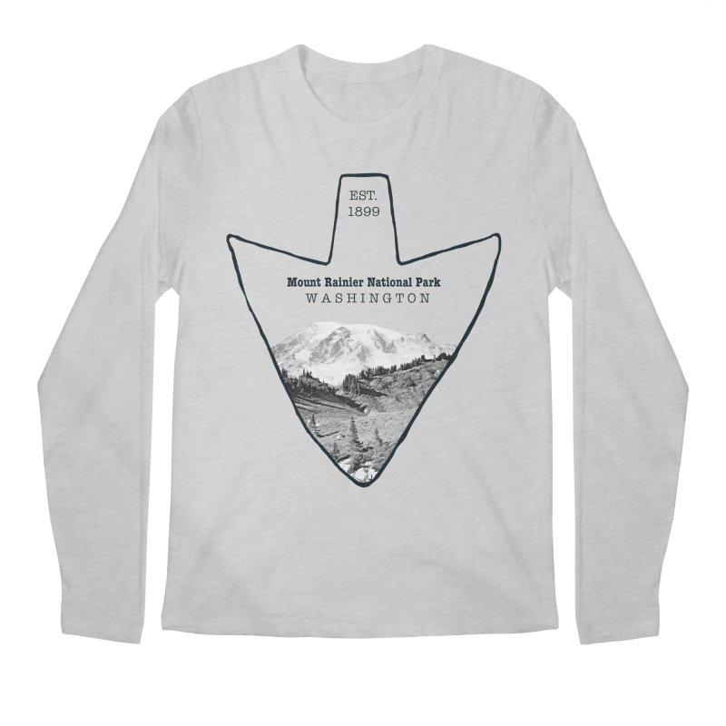 Mount Rainier National Park Arrowhead Men's Regular Longsleeve T-Shirt by Of The Wild by Kimberly J Tilley