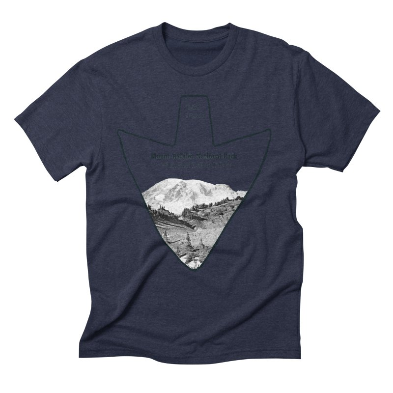 Mount Rainier National Park Arrowhead Men's Triblend T-Shirt by Of The Wild by Kimberly J Tilley