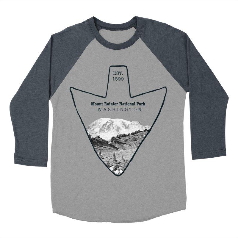Mount Rainier National Park Arrowhead Men's Baseball Triblend Longsleeve T-Shirt by Of The Wild by Kimberly J Tilley