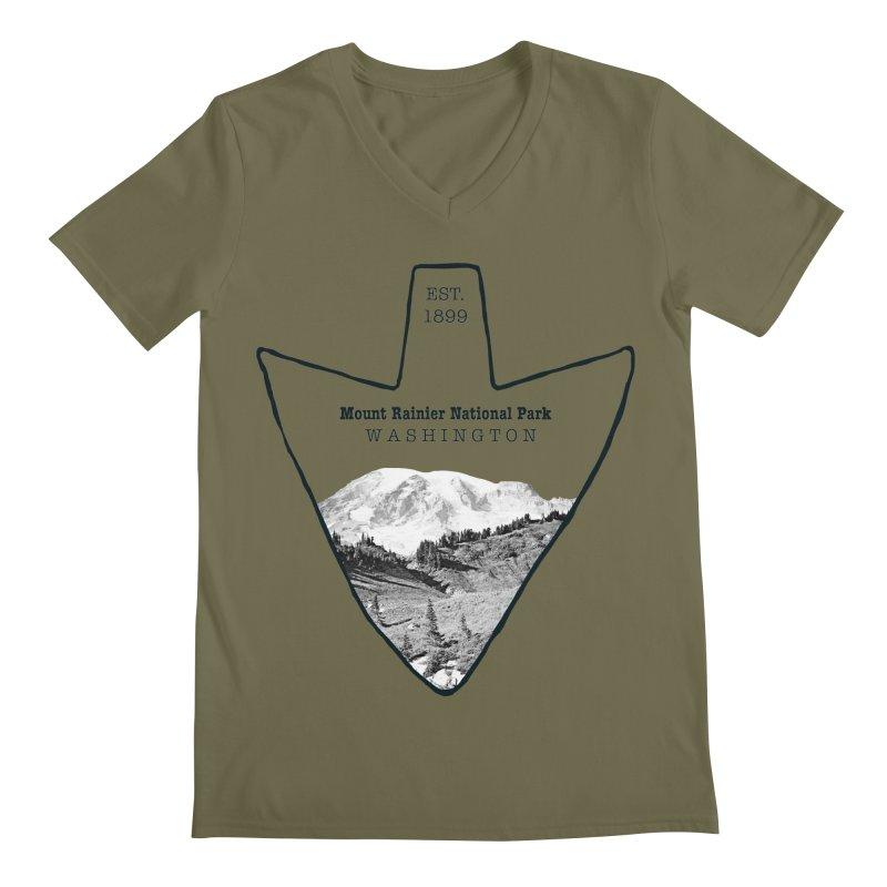 Mount Rainier National Park Arrowhead Men's V-Neck by Of The Wild by Kimberly J Tilley
