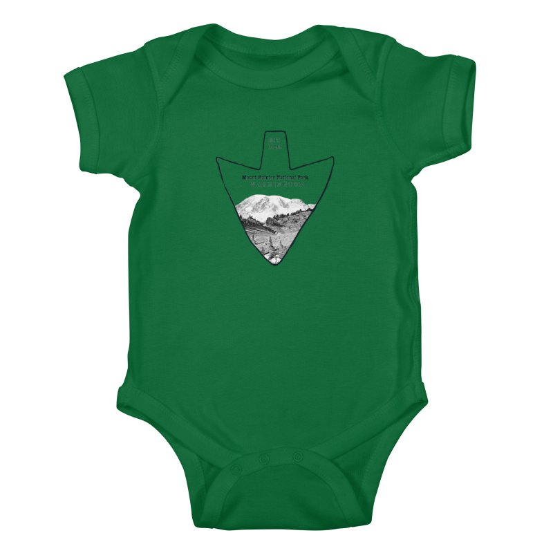 Mount Rainier National Park Arrowhead Kids Baby Bodysuit by Of The Wild by Kimberly J Tilley