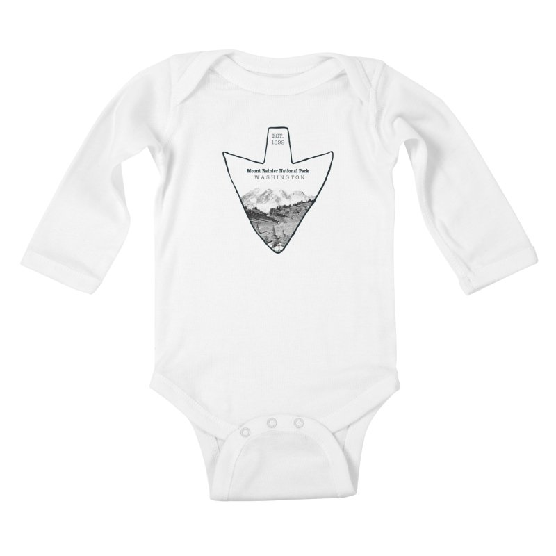 Mount Rainier National Park Arrowhead Kids Baby Longsleeve Bodysuit by Of The Wild by Kimberly J Tilley