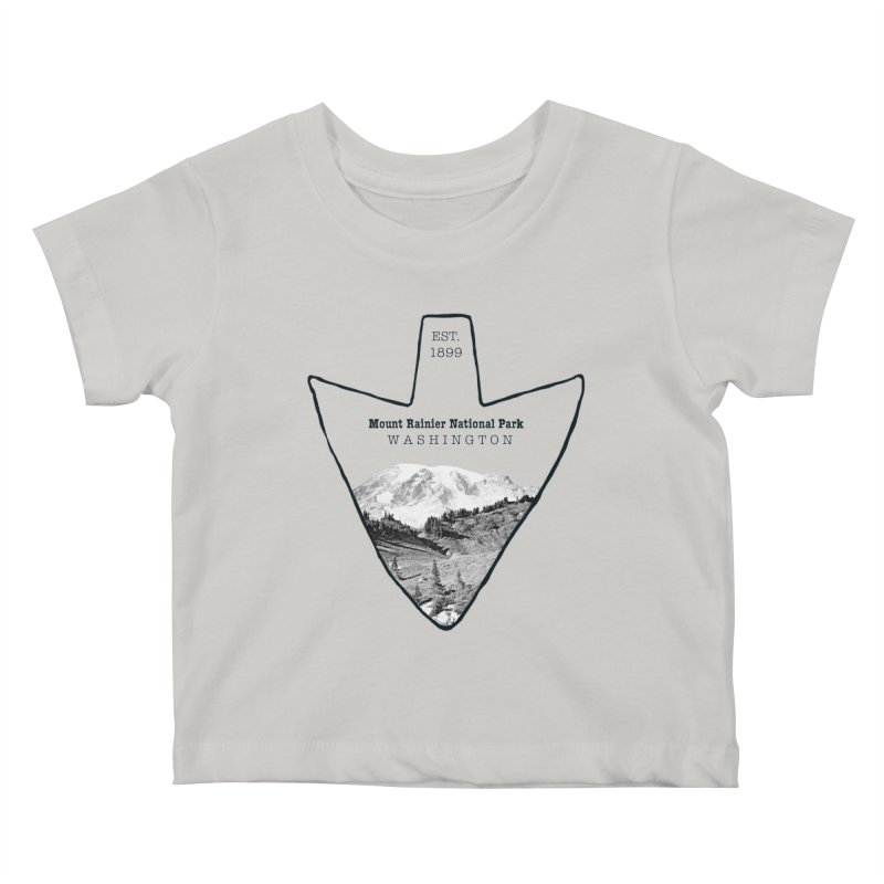 Mount Rainier National Park Arrowhead Kids Baby T-Shirt by Of The Wild by Kimberly J Tilley