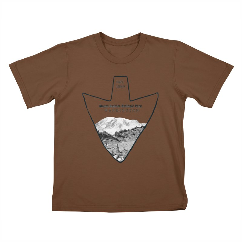 Mount Rainier National Park Arrowhead Kids T-Shirt by Of The Wild by Kimberly J Tilley